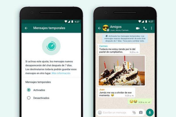 Los mensajes temporales llegan a WhatsApp
